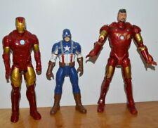 "Marvel Iron Man & Captain America Action Figures Lot 10"" 12"" Tall Hasbro"