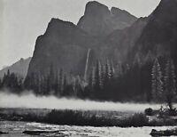 1950s Vintage ANSEL ADAMS Yosemite Valley Fog Mountain Landscape Photo Art 11X14