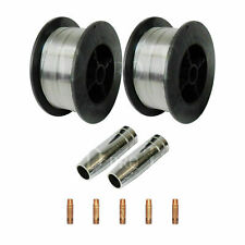 2 x Gasless Mig Welding Wire 0.8mm 0.45 kg Shrouds and Tips Flux Core Wire Cored