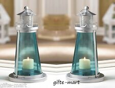 2 BLUE nautical LIGHTHOUSE statue 10