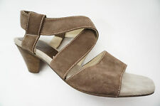 1508# Donna Carolina Shoes Suede Heel Ankle-strap Sandal Size 40,5 ( 7 ) Brown