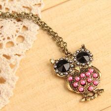 Fashion Pink Pearls Rhinestone Studded Owl Pattern Long Pendant Necklace Jewelry