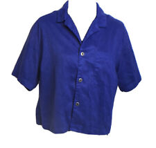 Chicos Womens Faux Suede Short Sleeve Collared Button Front Shirt Size 1 / M