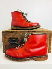 Vtg 80's Souki Red Leather Ski Sherpa Sheepskin Lined Boots Sz 9 Made In France