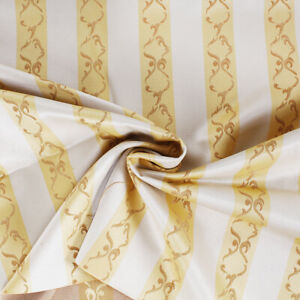 Fabric Cut 280x280cm Satin Pattern Stripe Yellow Cushions Table Ware Home Decor