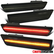 For 2008-2014 Dodge Challenger Smoke Front+Rear SMD LED Side Markers Lights Pair