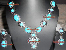 UNCUT PAVE ANTIQUE ROSE CUT DIAMOND 6.80ct TURQUOISE WEDDING PARTY NECKLACE SET