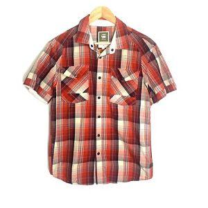 G STAR RAW Cargo Line Men's XL Short Sleeve Button Down Shirt Red Blue Plaid