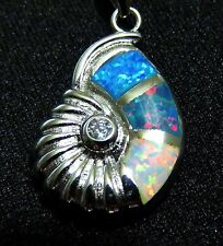 Sterling 925 Silver SF Pendant & Necklace Rainbow White Blue Fire Opal  SHELL