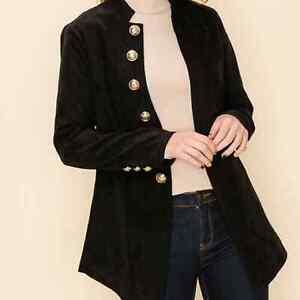 Military Style Black Blazer Jacket HYFVE Boutique Brand NWT Large Women's