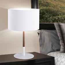 Design Tisch Lampe Holz Optik Wohn Zimmer Beleuchtung Textil Lese Leuchte weiß