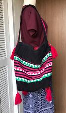 Women's Thai Hill Tribe Crossbody Bag Milti-Color Hand Grip Cotton Hmong Size L