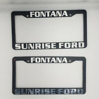 2x Fontana Sunrise Ford Black Plastic License Plate Frame Front And Rear