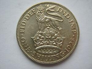 1928 silver Shilling EF