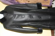 NEW WOMANS BLACK 100% GENUINE SHEARLING & LEATHER LONG COAT SIZE SMALL