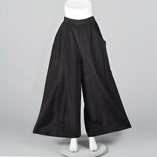 M 1930s Black High Waist Wide Leg Pants Separates Art Deco Lightweight 30s Vtg