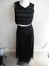 Vtg. 60's/'70's India Bollywood dance mirrors embroidery crop top & maxi skirt