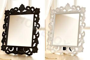 Vintage Fabulous White / Black Ornate Rectangle Dressing Table Mirror 50 x 39 CM