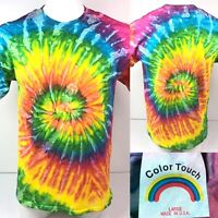 Vtg 90s Color Touch Tie Dye Swirl T Shirt Mens Large Made In USA Hippie Tee A