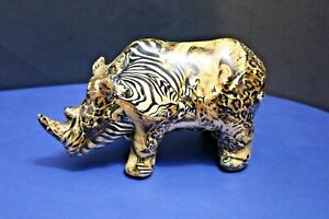 La Vie Rhinoceros Figurine African Safari Patchwork Ceramic
