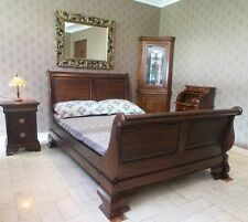 Solid Mahogany Wood Bedroom Set Sleigh Bed Bedside Dressing Table Queen Size