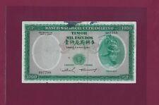 Portugal Portuguese Timor 1000 Escudos P-30 1968 Fine Rare Signature