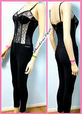 BEBE BLK/Lace Corset Jumpsuit w/ Padded Shelf Bra & Back Zip Closure, S (2044)