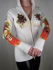 Ed Hardy Hoodie Hoody Knit Rhinestone Bone Love Cross Zip-Up Sweater, XS, Last 1
