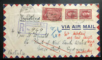 1940 Zeballos Canada Registered Airmail Cover to Bank Of NSW Sidney Australia