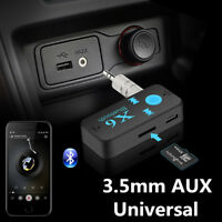 Portable Wireless Bluetooth 3.5mm AUX Audio Stereo Car Receiver Adapter Mic Kit