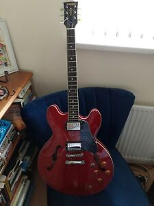 Vintage VSA500 Reissued 2001 Semi Hollow Acoustic Guitar - Cherry Red