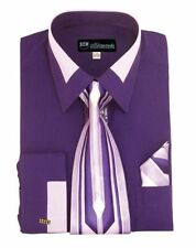 New Men's French Cuff Dress Shirt + Tie + Handkerchief Set Spread Collar  SG34