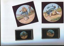 bicicletta grande bi ; 2 foglio vetro colore d'epoca sconosciuto