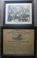 Vintage framed photo Navy certificate Louis Goldman April 1927 Machine shop