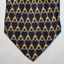 NEW Botticelli Silk Neck Tie Dark Blue Navy with Beige Pattern 1384