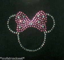 2.5 inch clear/pink Minnie Mouse iron on Disney rhinestone transfer for costume