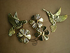2 Home Interior Accent Flowers and Hummingbird Wall Plaque Brass Color Metal/Tin