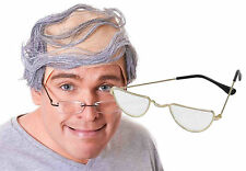Baldy Man Bald Wig + Half Moon Glasses Dirty Old Man Nerd Comb Over Fancy Dress