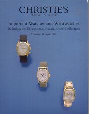 CHRISTIE'S WATCHES Patek Piaget Private ROLEX Collection Auction Catalog 1999