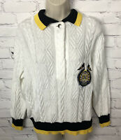 VTG Escada Margaretha Ley Sweater Cardigan Cable Knit White Yellow Black 40 US M
