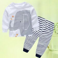 Baby Boys Outfits Short Sleeve T-Shirt Tops+ Stripe Long Pants Toddler Clothes