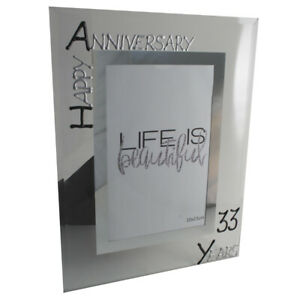 33rd Wedding Anniversary Picture Photo Frame: Port (Blk/Sil)