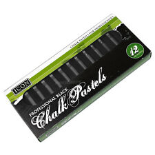 Pack of 12 Black Colour Chalk Oil Pastels Artist Childrens Drawing Sketching Art
