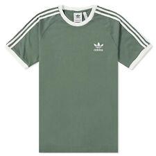Adidas Originals 3 Rayas tee Hombre Trefoil Vintage Camiseta Trace Verde