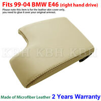 Leather Armrest Console Lid Cover Skin for BMW E46 3 Series 99-05 Beige Tan RHD