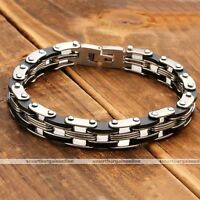 9mm Mens Silver Black Stainless Steel Link Chain Bracelet Cuff Wristband Bangle-
