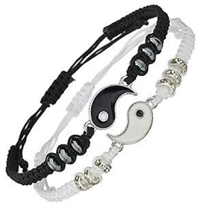 2x Best Friend Bracelets Matching Yin Yang Adjustable Woven Cord Bracelet Gift