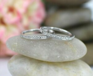 Solid 18K White Gold Ring Diamond Tacori Band set 2 Sz 6 Costal Crescent Half