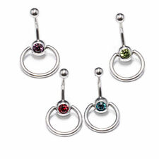 Button Rings for Women with Cz Package of 4Pcs 14G Surgical Steel Belly