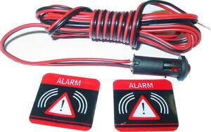 Alarm LED, 2 Aufkleber, Alarmsimulation, blinkend, Signalleuchte,12V, D36_CPV